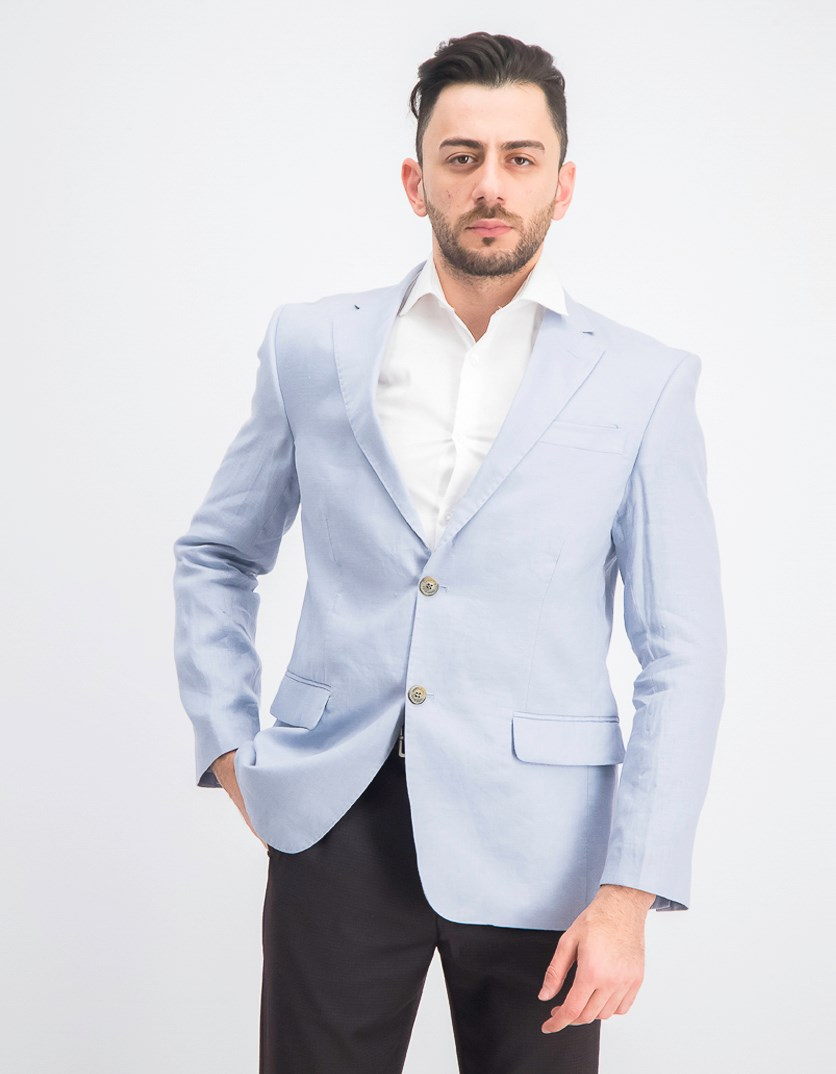 Men's Linen 2-Button Blazer, Dusty Blue