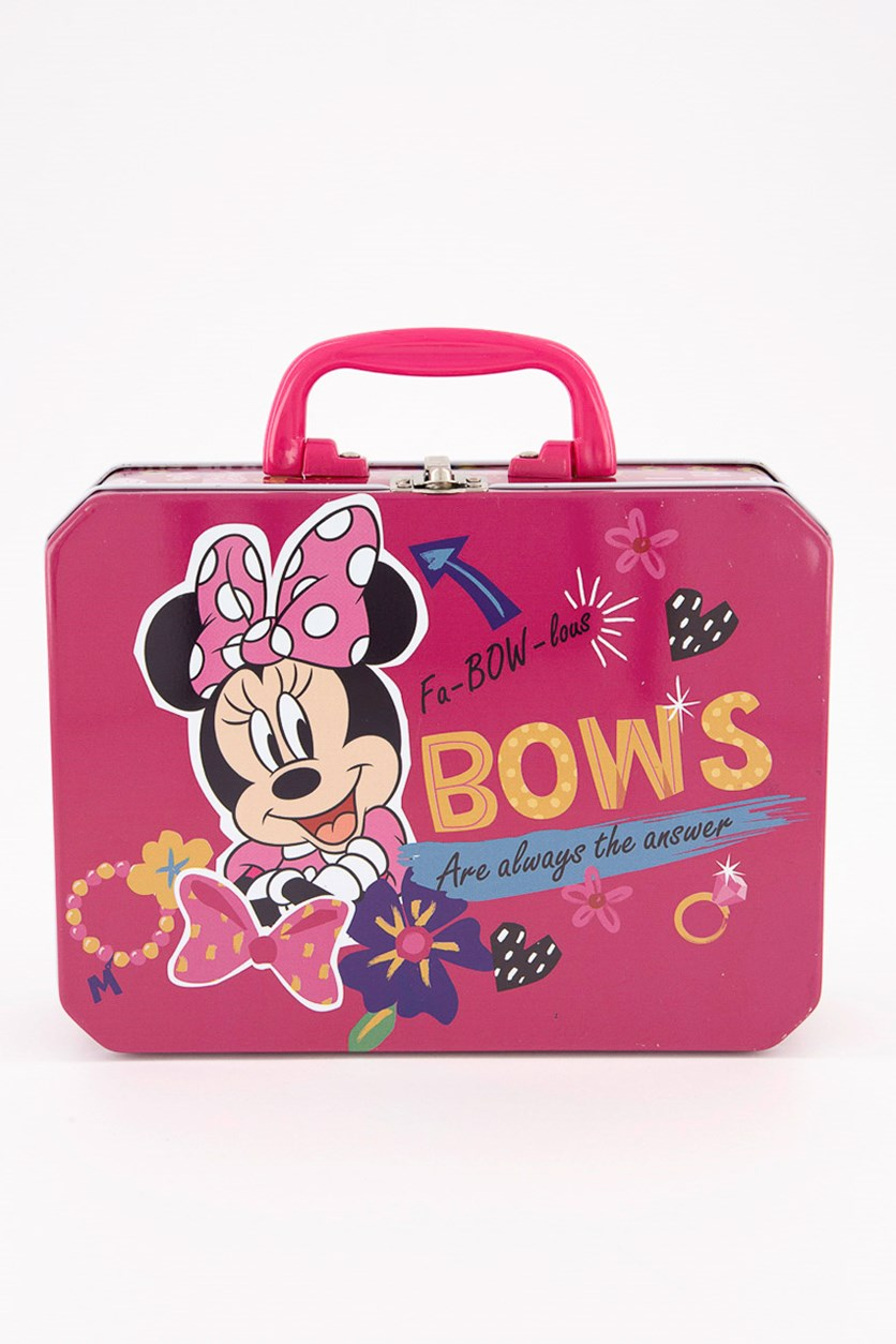 Kids Girls Minnie Deluxe Rectangle Tin Box With Plastic Handle & Clasp, Pink