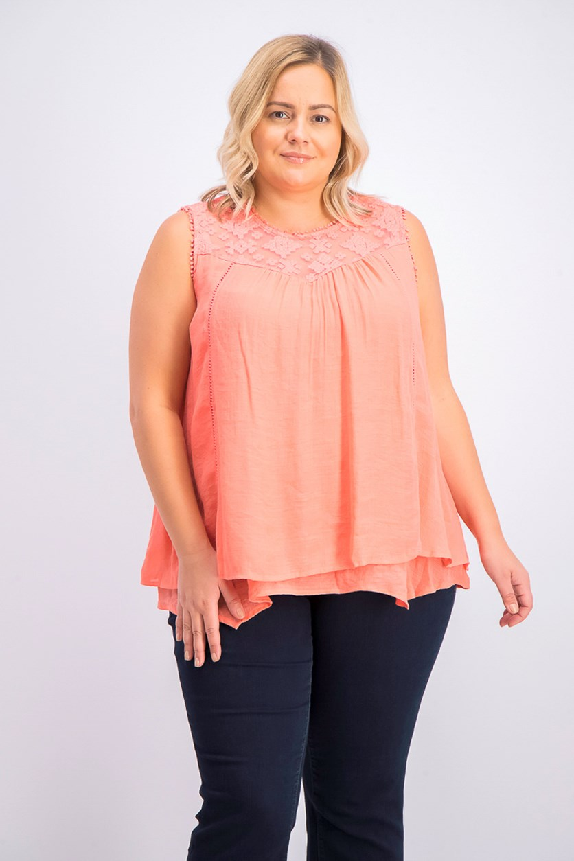 Women's Plus Size Tops, Coral