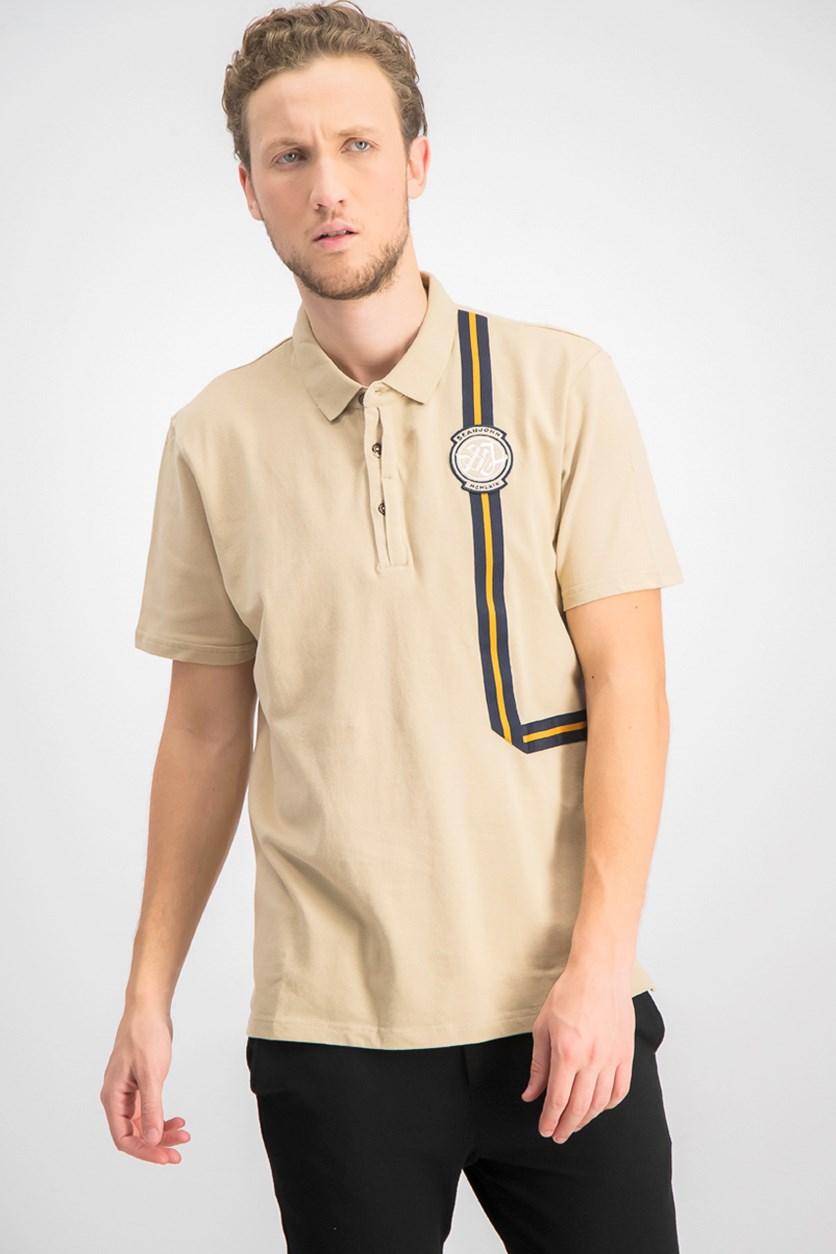 Men's Art Polo Shirt With Taping, Dune
