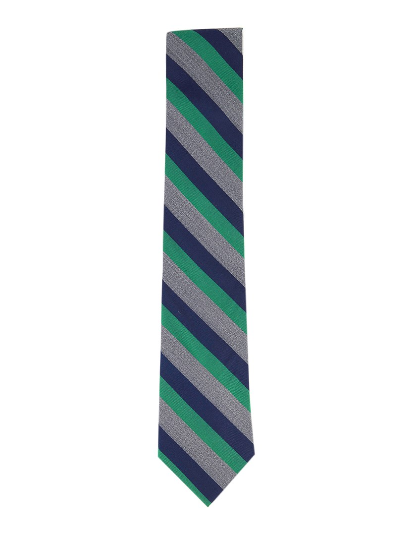 Men's Silk Stripes Regular Tie, Navy/Green/Grey