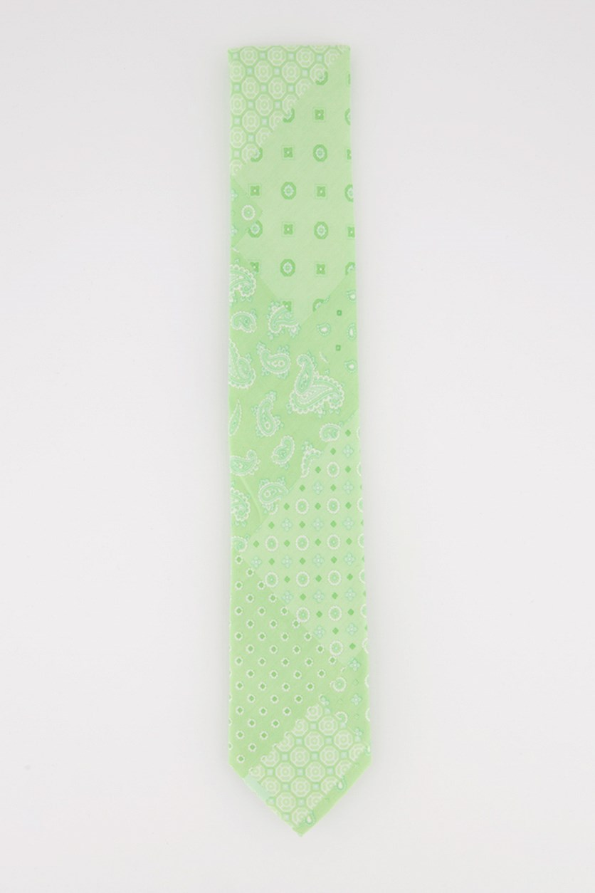 Men's Patchwork Bandana Neck Tie, Green