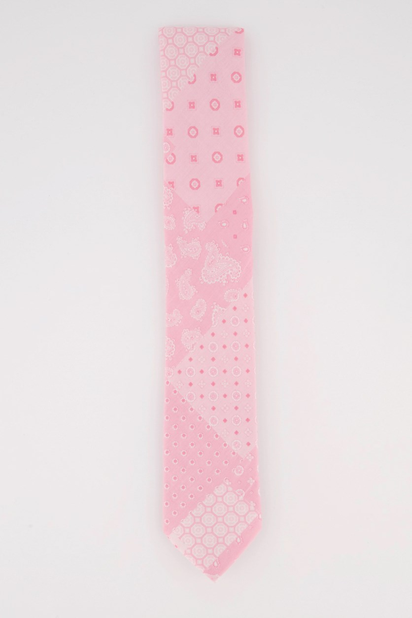 Men's Graphic Print Tie, Pink/White