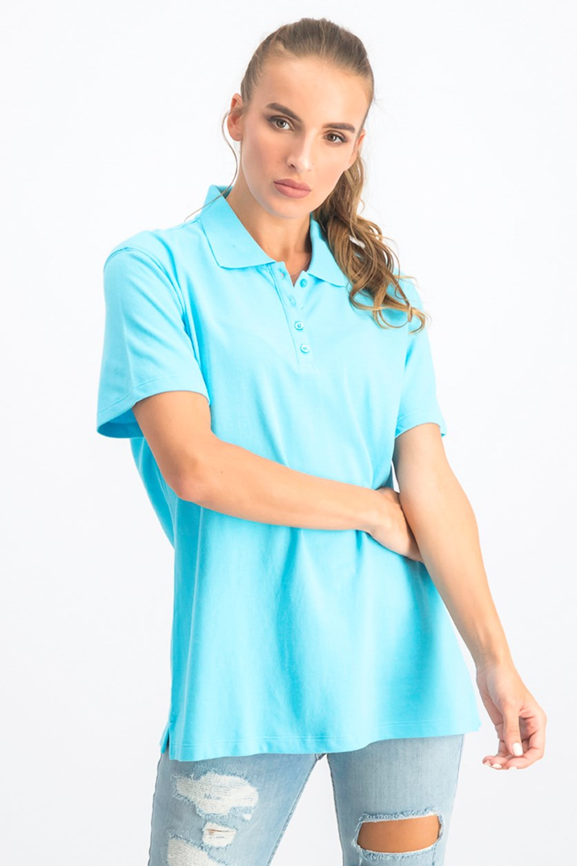 Women's Pique Polo Top, Aqua Oasis