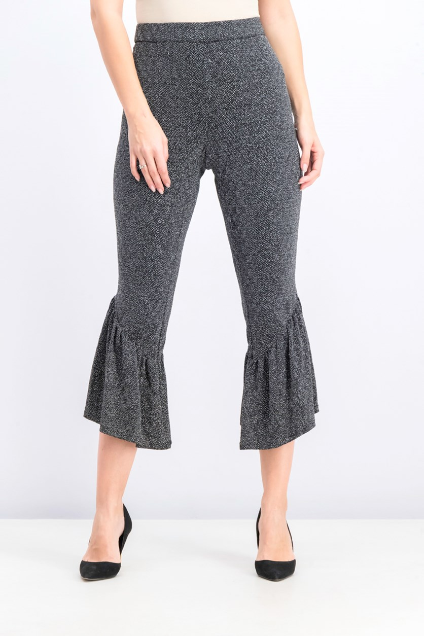 Women's Asymmetrical Ruffled Pants, Lurex