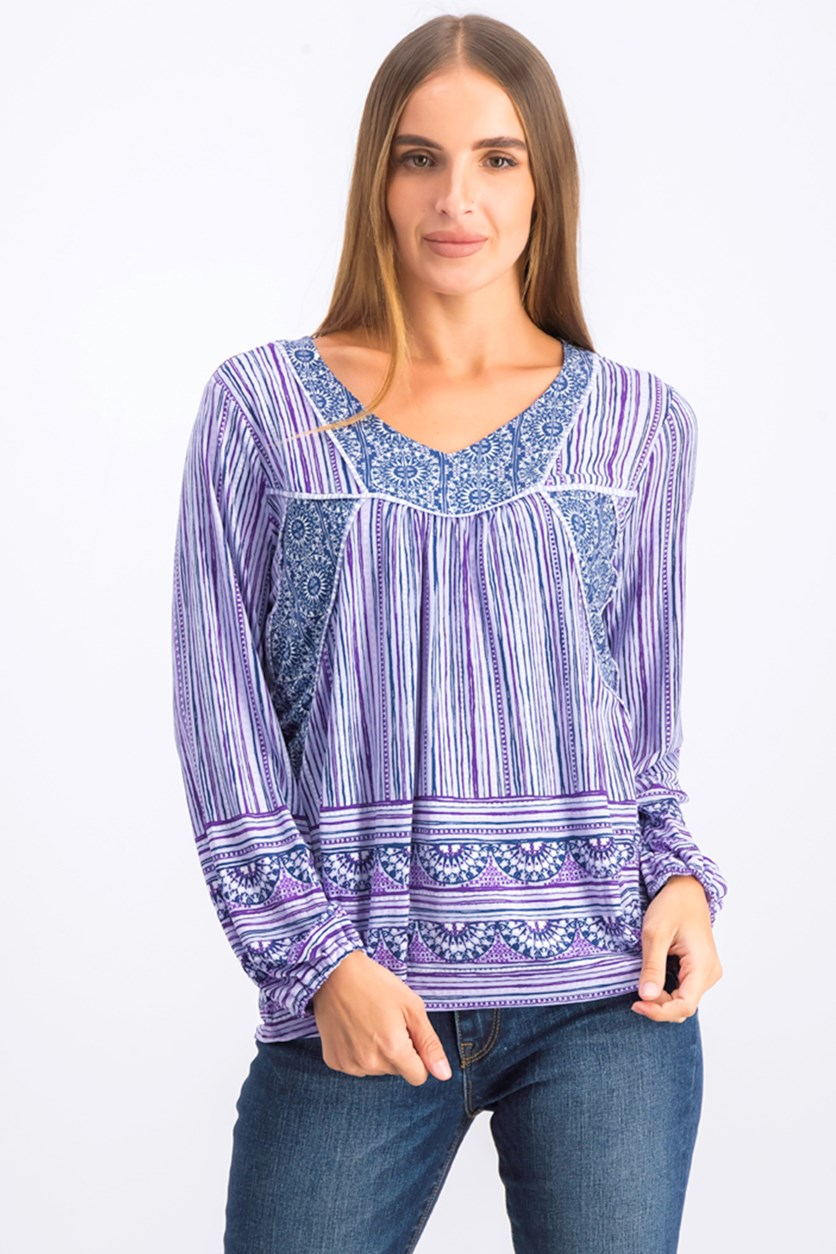 Womens Printed Peasant Top, Purple