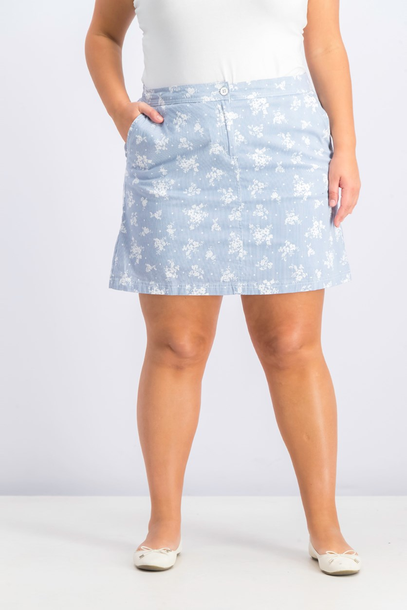 Women's Printed Denim Skort, Blue Chambray Combo