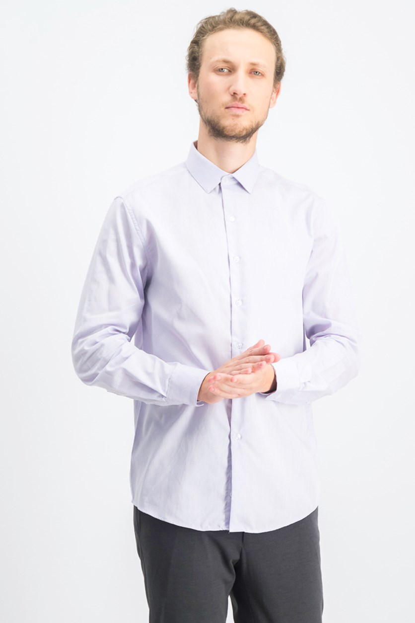 Mens Textured Collared Dress Shirt, Lavender