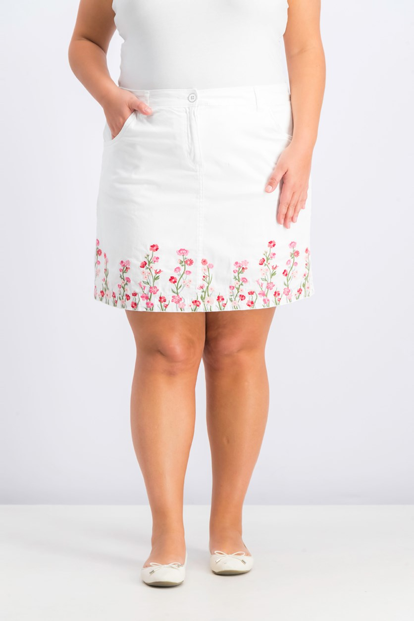 Women's Floral Embroidered Skirt, Bright White Combo