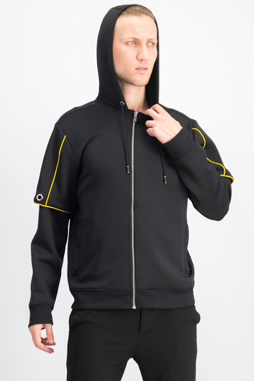 Men's Piped Zip-Front Hoodie, Black