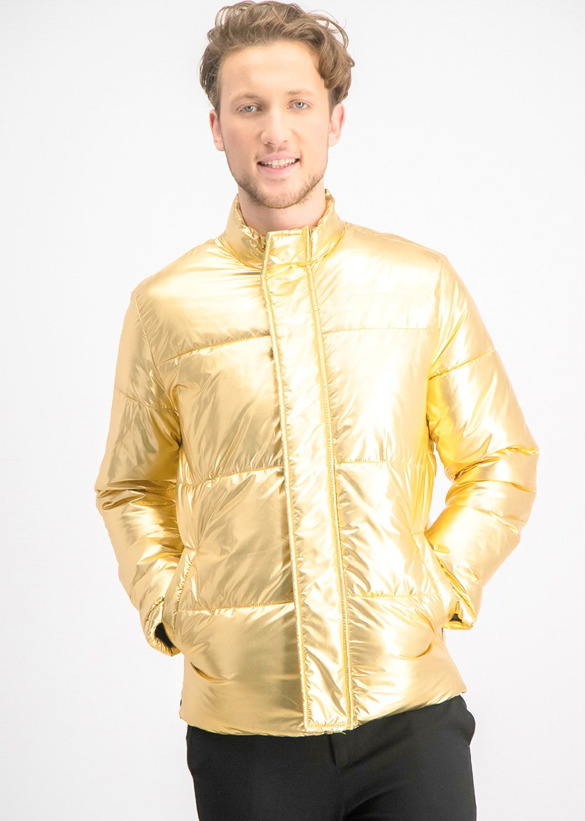Men's Metallic Puffer Jacket, Matte Gold