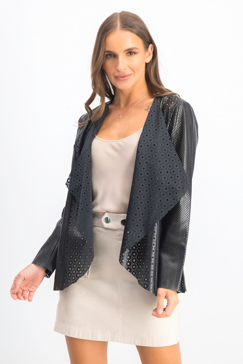 Women's Faux Leather Perforated Jacket, Black
