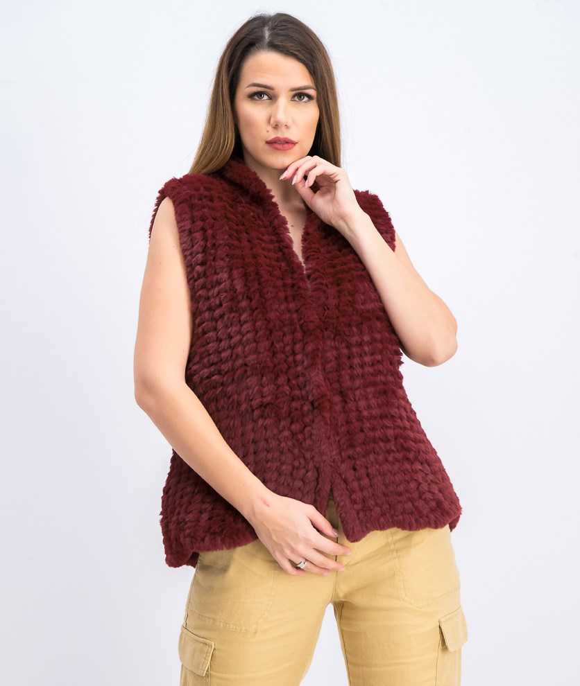 Women's Knitted Faux Far Vest, Red