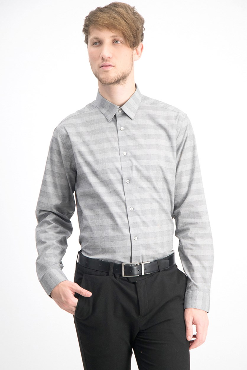 Men's Steel Slim Fit Performance Stretch Non Iron Dress Shirt, Gray