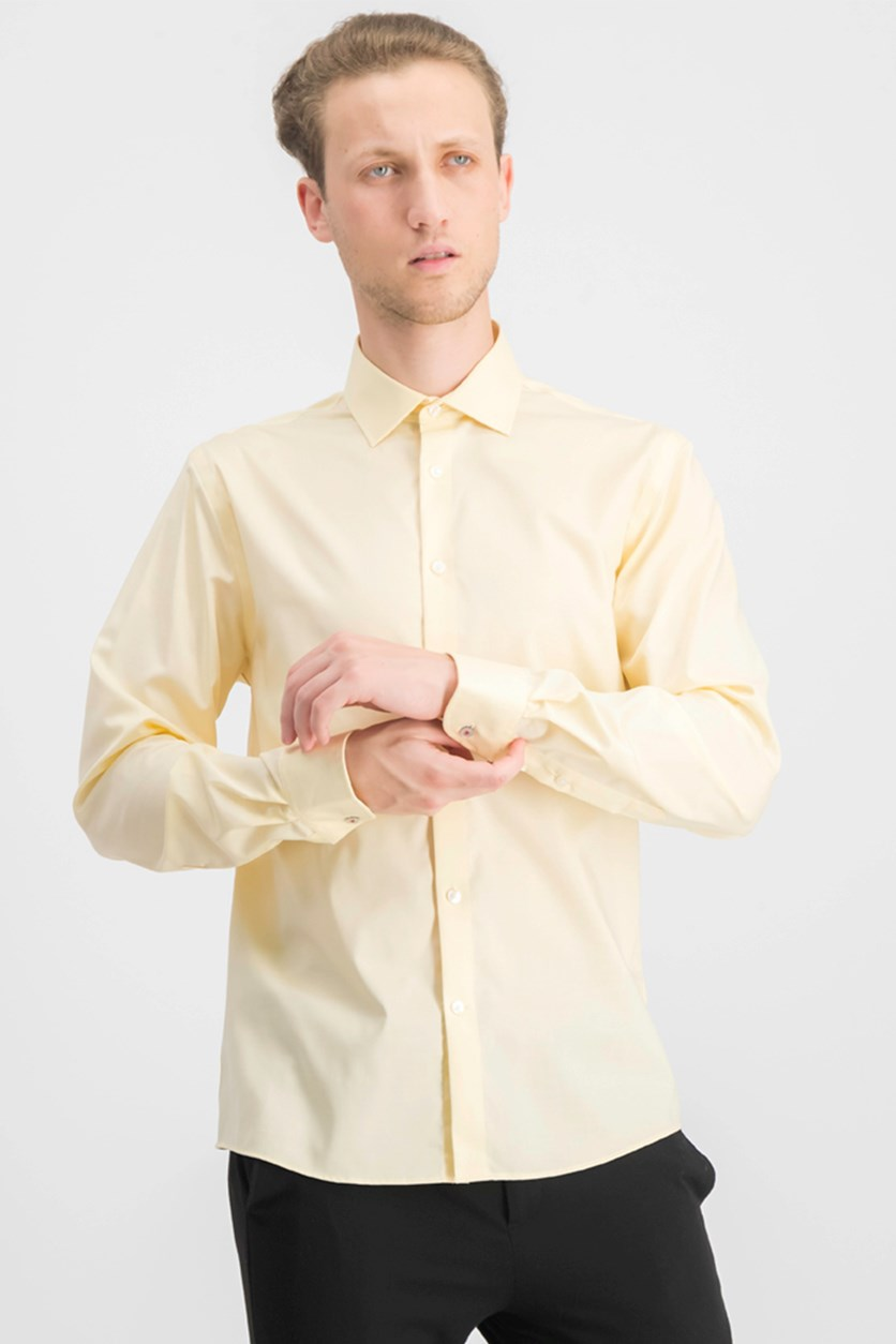 Men's Slim Fit Dress Shirt, Bright Yellow