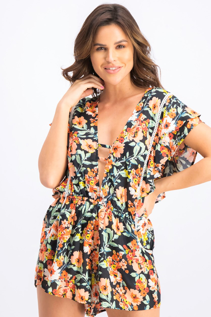 Women's Wild Flower Romper Cover-Up, Black Combo