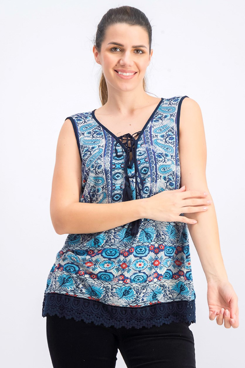 Womens Printed Crochet Trim Tank Top, Slate