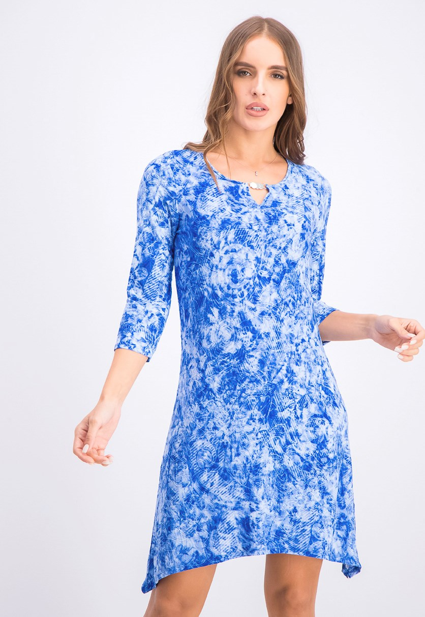 Women's Petite Embellished Tie-Dyed Dress, Blue