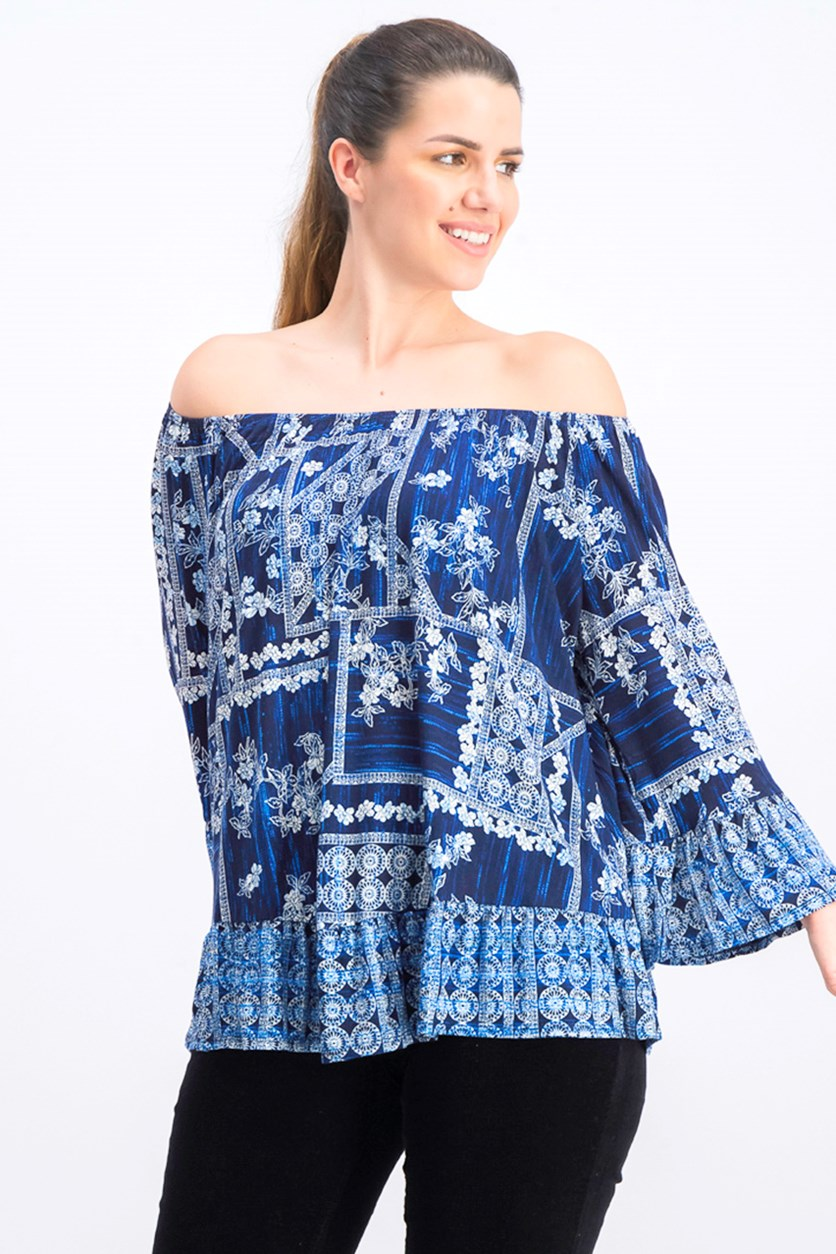 Women's Off-the-Shoulder Floral-Print Top, Tiled Dye Navy