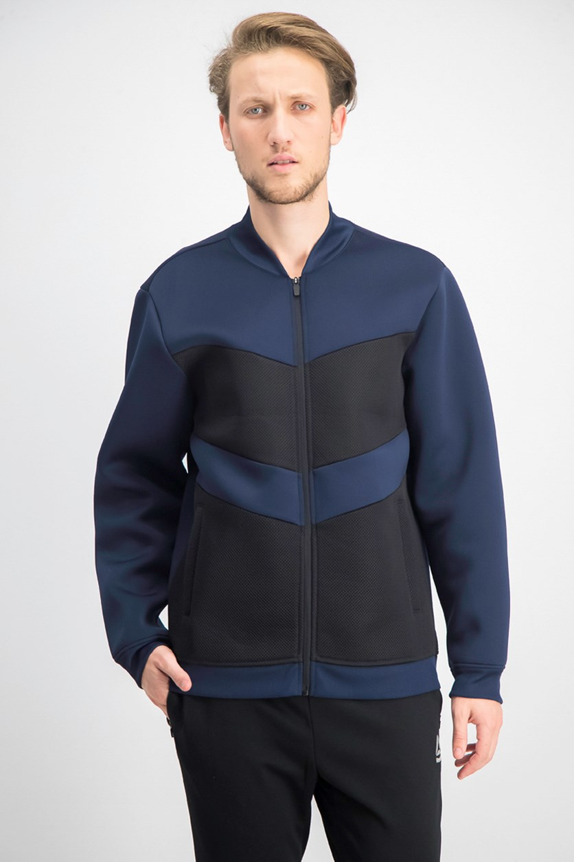 Men's Colorblocked Mesh Fleece Bomber Jacket, Navy