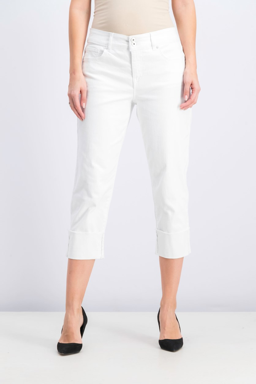 Women's High Cuffed Capri Jeans, Bright White