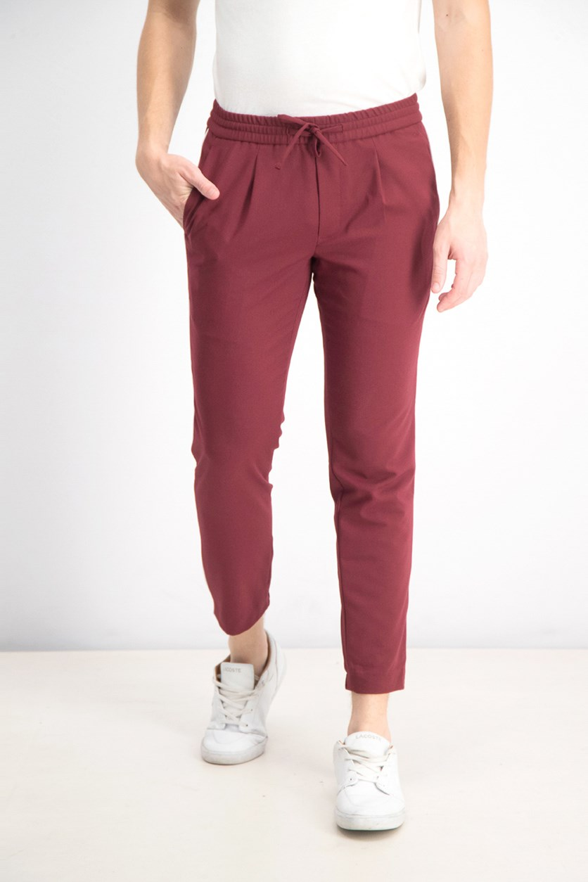 Men's Piped Drawstring Pants, Maroon