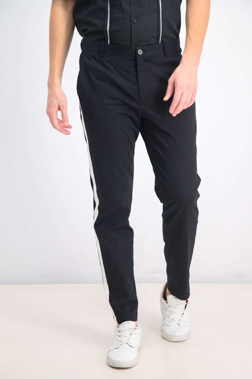 Men's Slim-Tapered Fit Side-Stripe Cropped Chinos, Deep Black