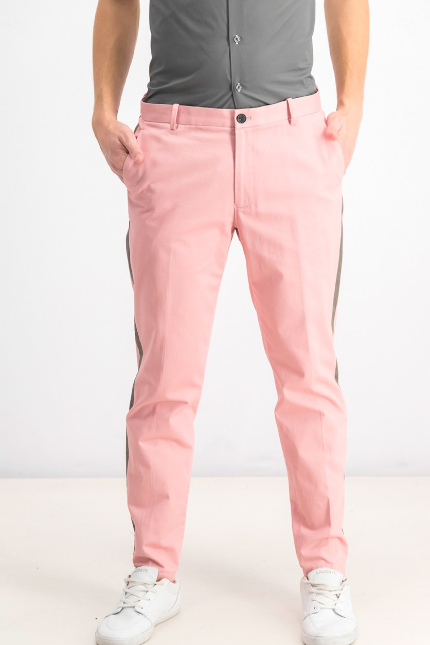 Mens Cropped Slim Fit Chino Pants, French Tulip