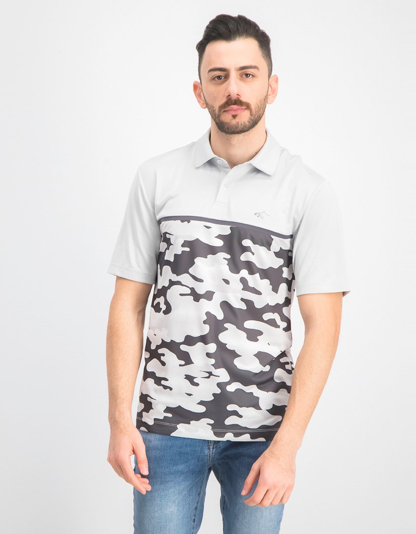 Mens Colorblocked Camo Polo, Grey
