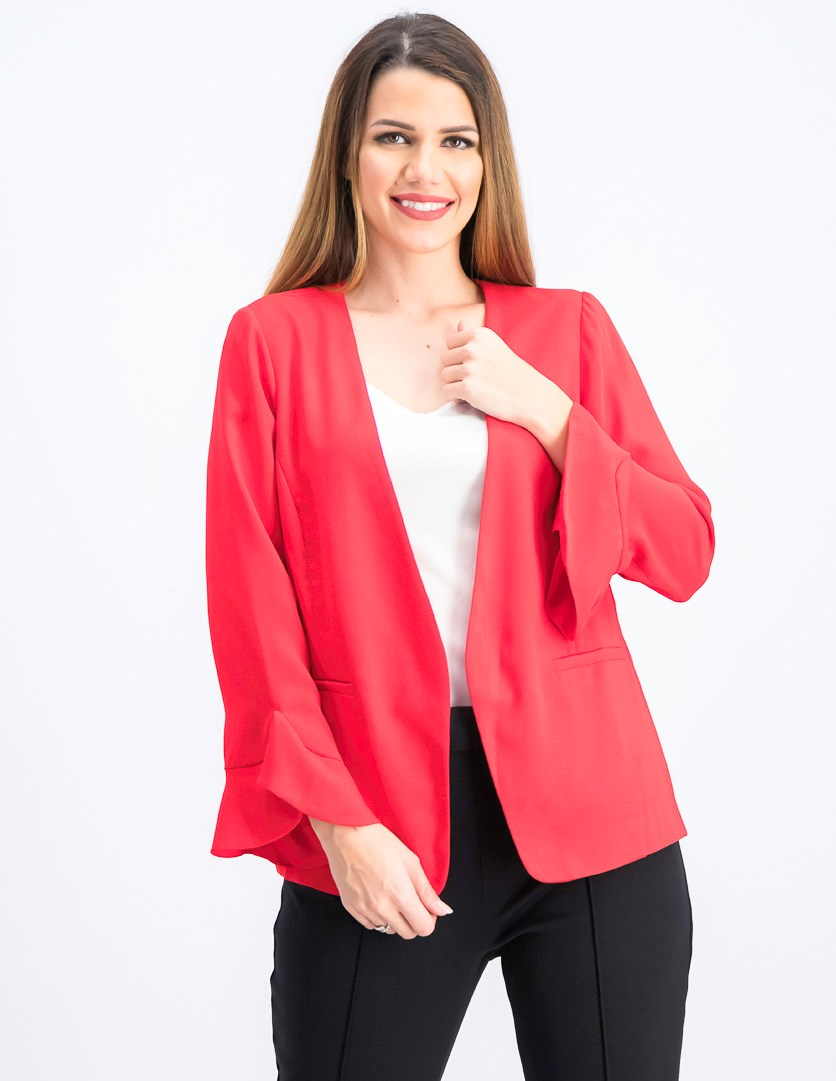 Women's Petites Bell Sleeves Open-Front Blazer, Chinese Red