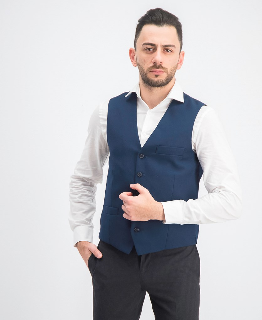 Men's Slim-Fit V-Neck Vest, Navy