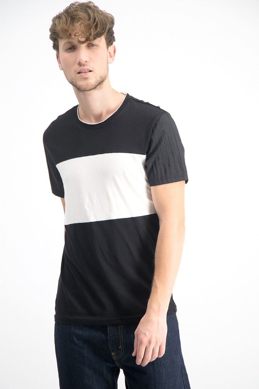 Men's Colorblocked T-Shirt, White/Black