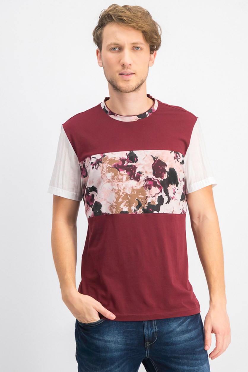 Men's Colorblocked Rust Graphic T-Shirt, Maroon/White
