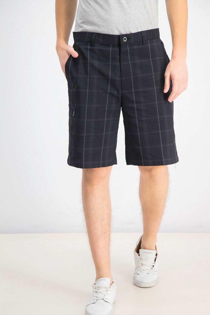 Men's Plaid Golf Shorts, Deep Black