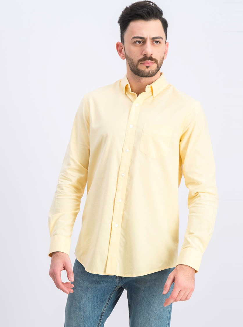 Mens Stretch Button-Down Collar Button-Down Shirt, Magnolia