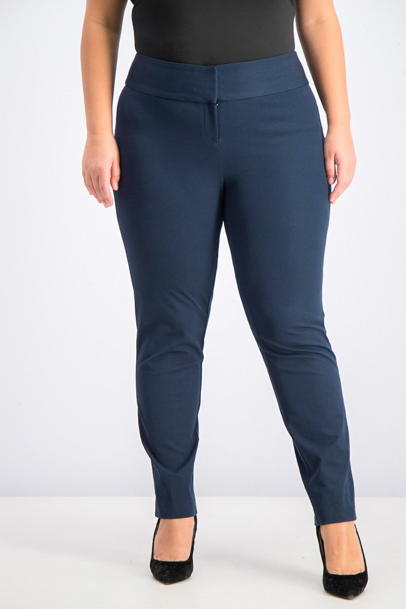 Plus Size Slim Tummy-Control Pants, Modern Navy