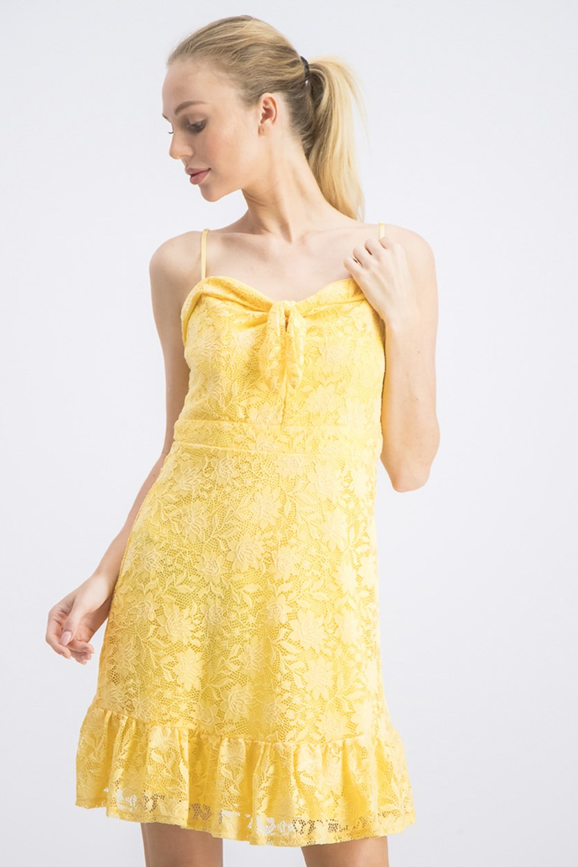 Women's Lace Sweetheart Ruffle Dress, Yellow