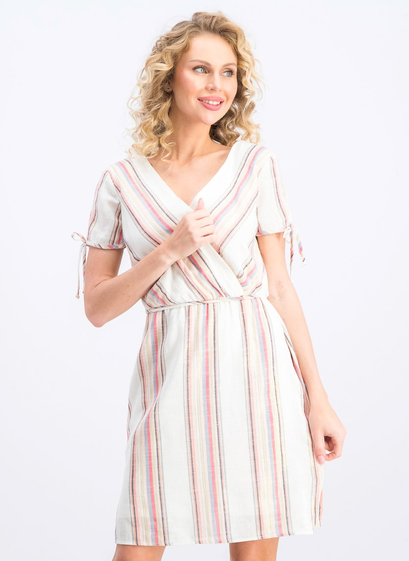 Women's Metallic Striped Wrap Dress, Ivory/Gold