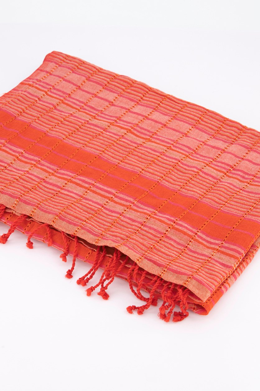 Women's Hand Loomed Organic Cotton Scarf, Red