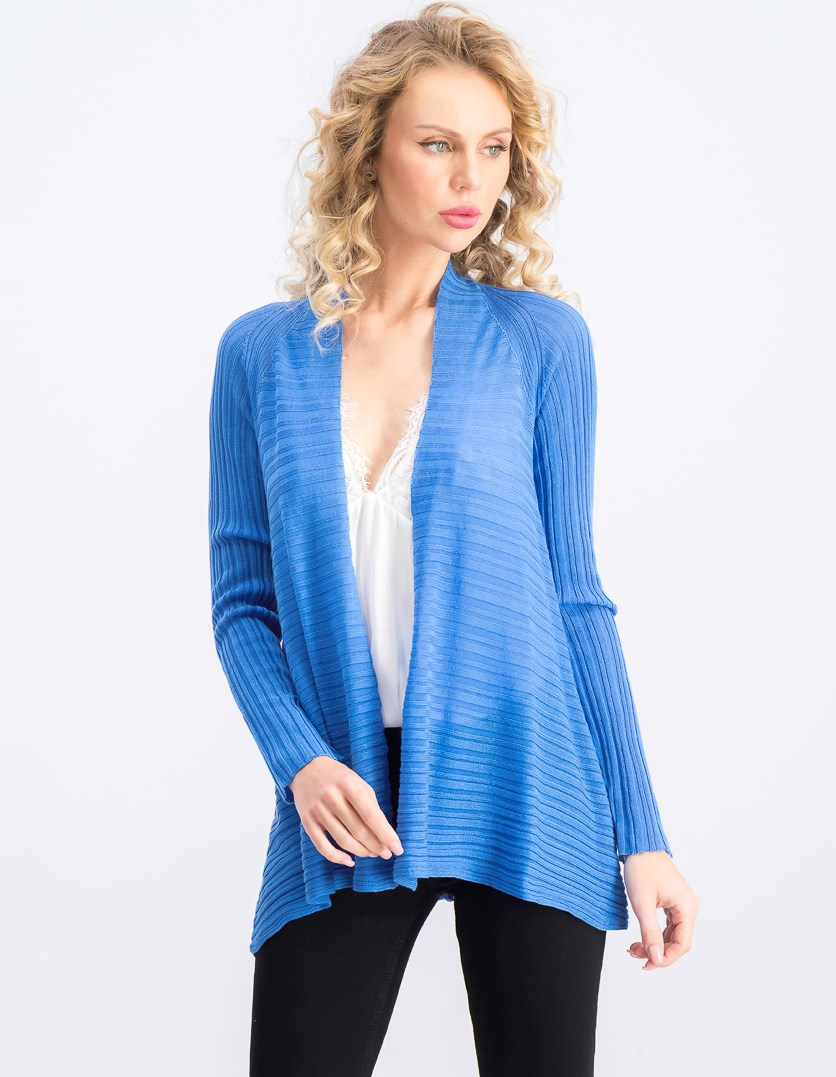 Women's Petite Open Front Long Sleeve Cardigan, Blue