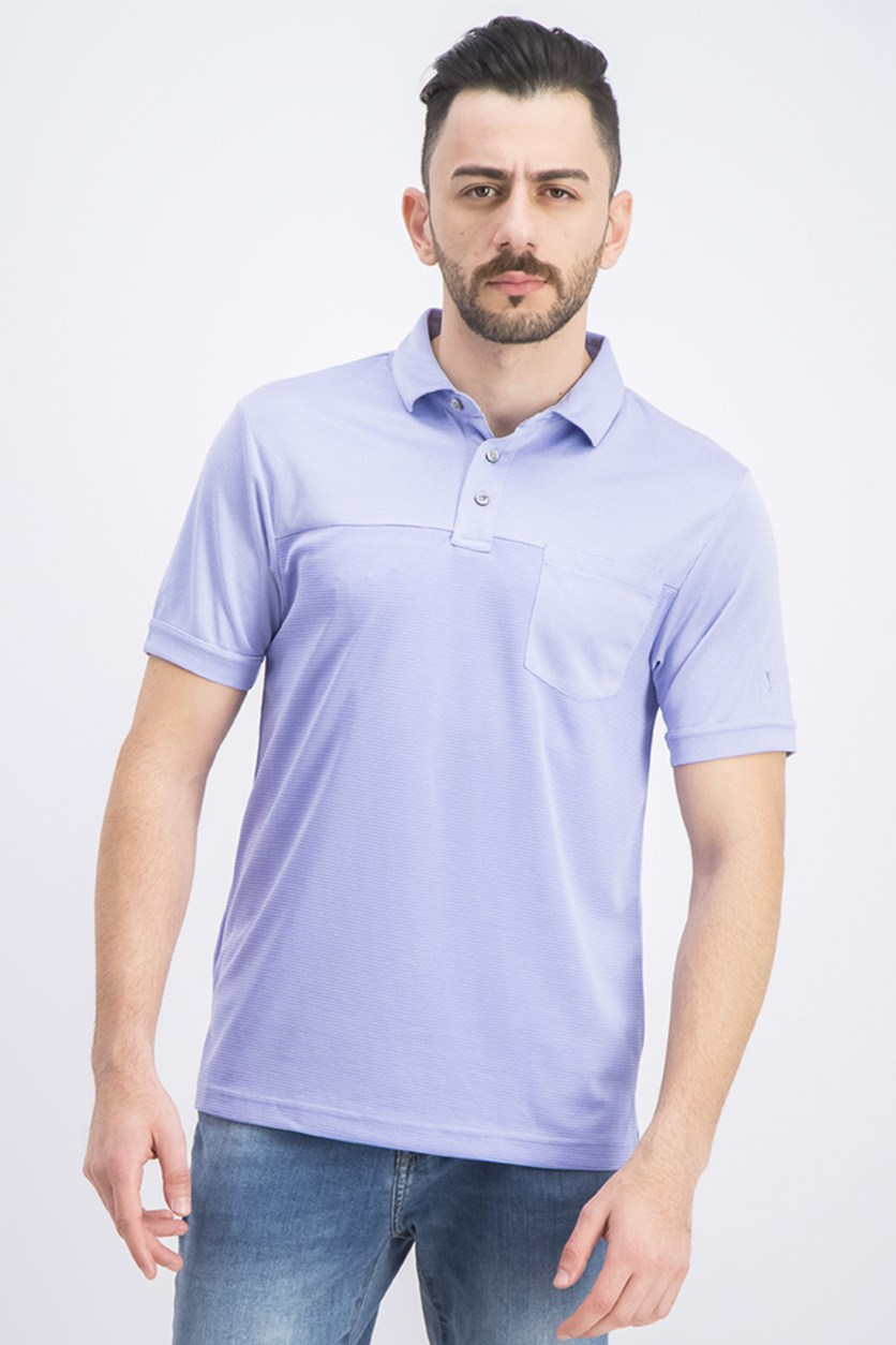 Men's Texturized End-on-End Pocket Polo, Periwinkle Heather