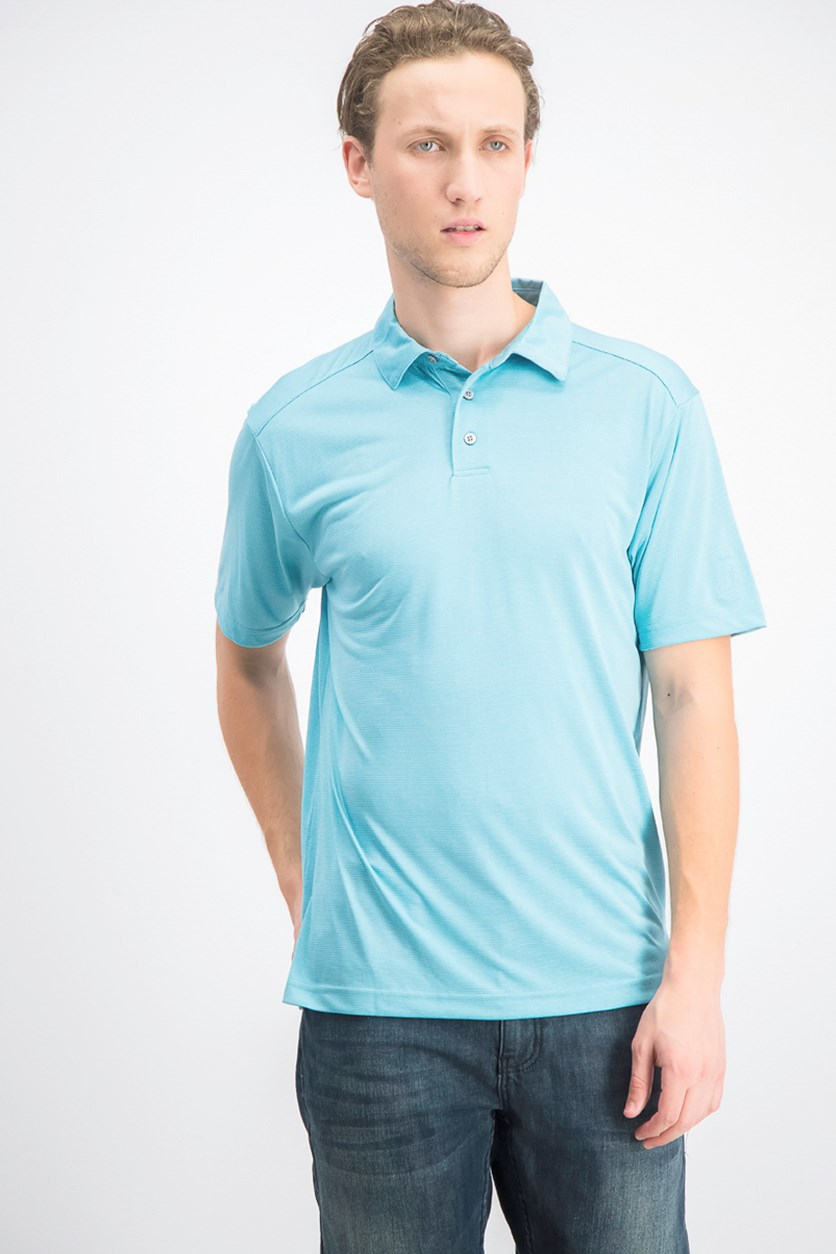 Men's Striped Golf Polo, Light Blue