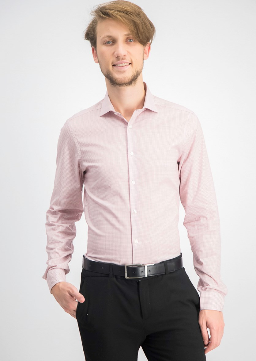 Men's Steel Slim-Fit Non-Iron Stretch Performance Dress Shirt,  Red Check