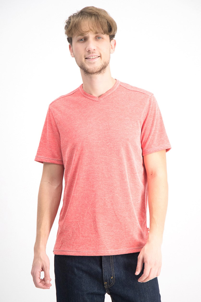 Men's Sand Key Textured Melange T-Shirt, Coral Haze