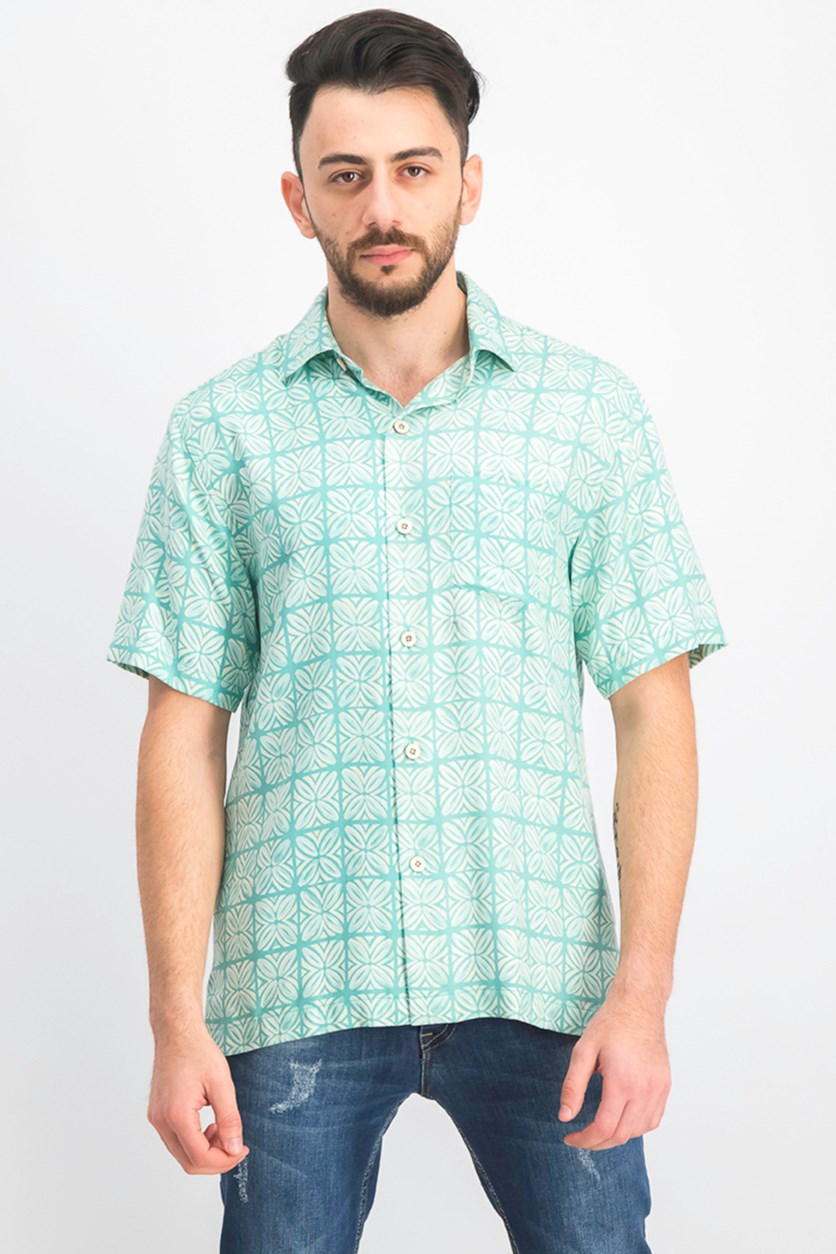 Men's Tonal Geo-Print Silk Camp Shirt, Tonal Geo