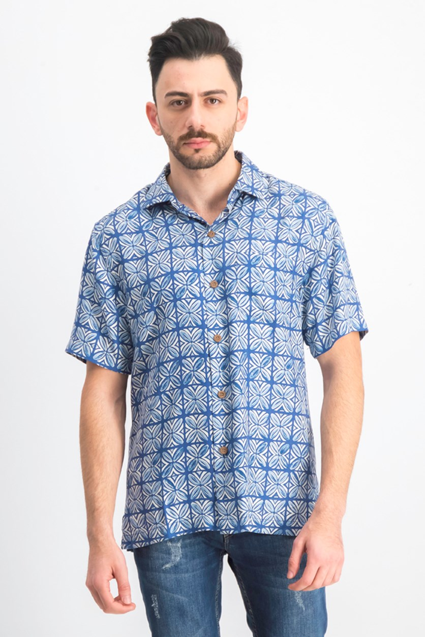 Men's Tonal Geo-Print Silk Camp Shirt, Dockside Blue