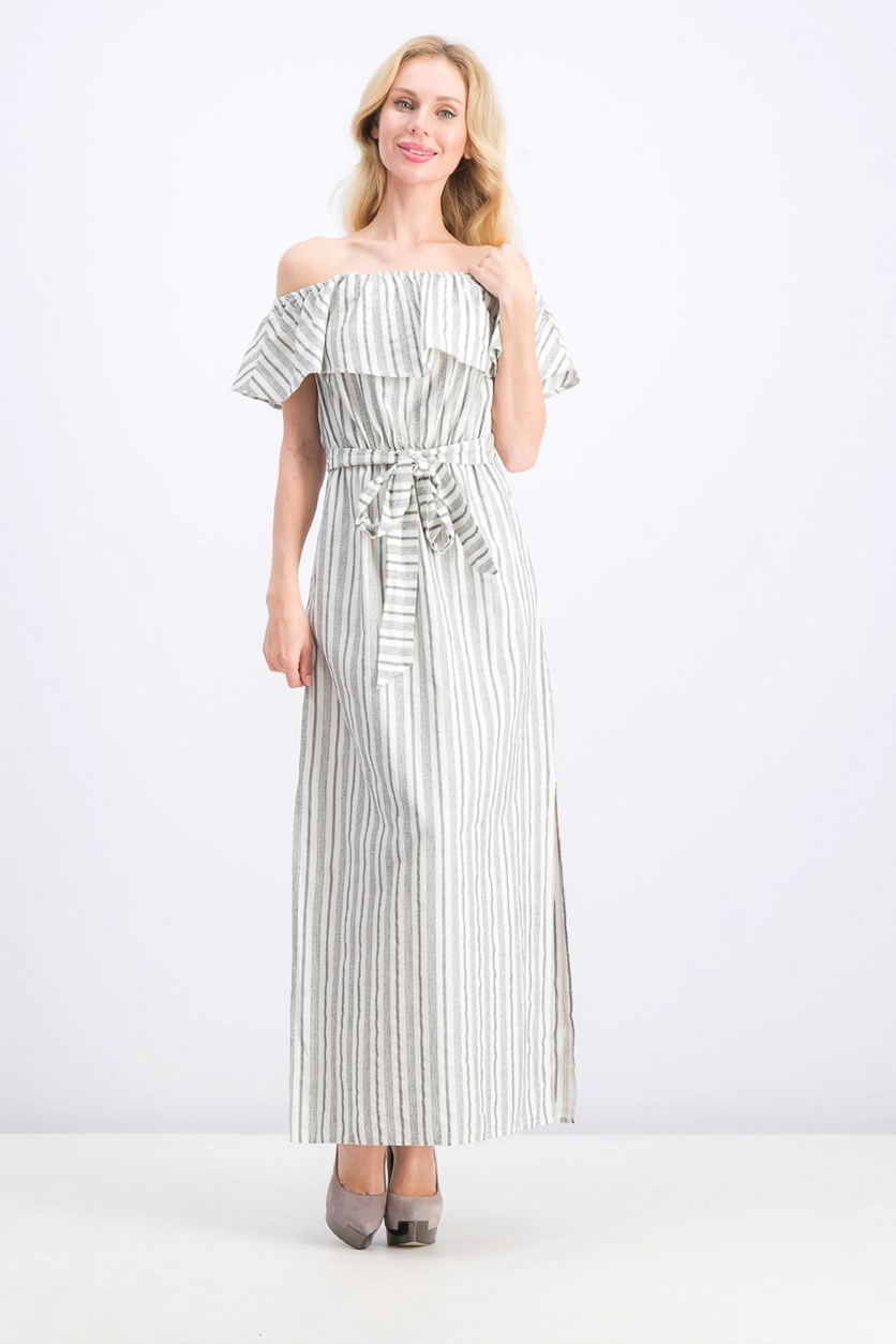 Women's Off the Shoulder Striped Cotton Jacquard Maxi Dress, Ultra White
