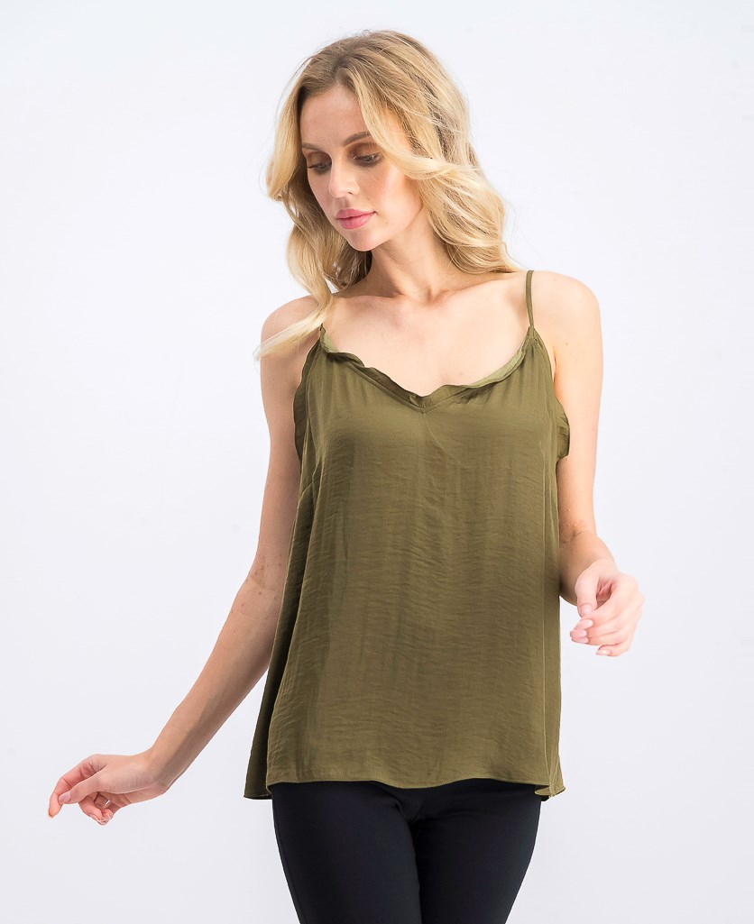 Women's V-Neck Ruffled Camisole, Green