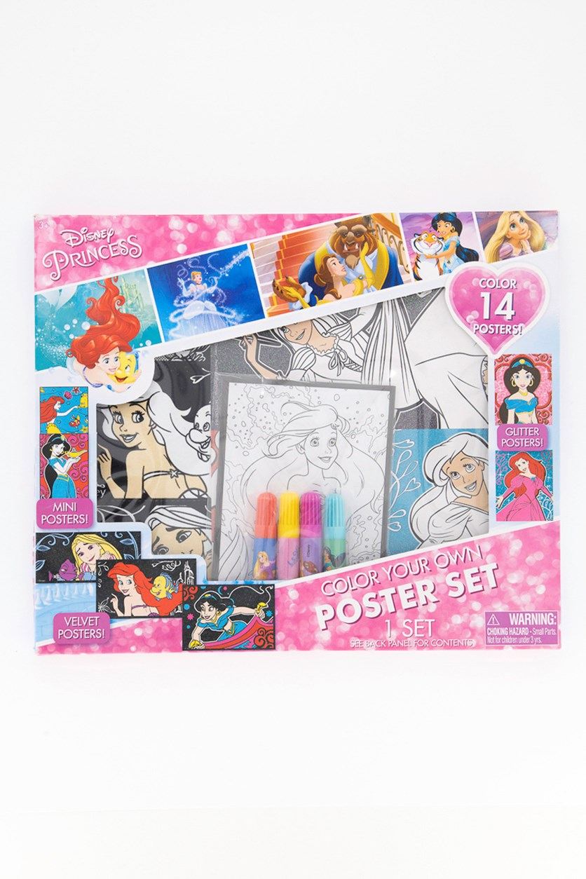 Princess Color Your Own Poster Set, Pink