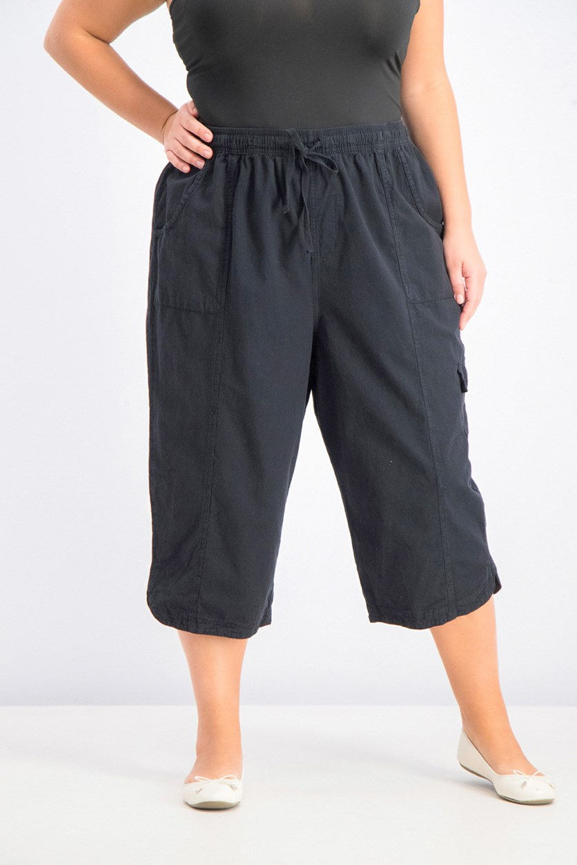 Womens Plus Size Cotton Edna Capris, Black